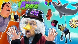 DUCKTALES Scrooge McDuck plays AMAZING FROG after Hello Neighbor Magic Trick! (#12 - Shark Balloon)