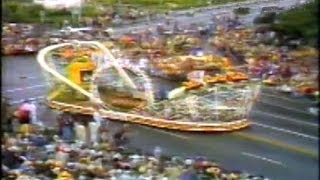 This is old television footage of an amazing roller coaster float at the 1982 Tournament of Roses/Rose Bowl parade.