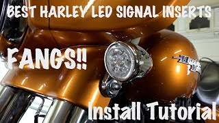 """In this video, we show you how to install Ciro 3D Fang LED Signal Light Inserts on a Harley-Davidson motorcycle. These are really cool and quick to install. You'll get a much brighter lookthan those stock bulbs. These Ciro 3D Fang LED's install easily and turn in just like your bulb does. They really are """"plug and play"""". I love the look of the Fangs as they protrude out at the top and narrow at the bottom.Stock halogenbulb Harley signals and brake lights are boring and dull. These Ciro 3D Fang LED signals and brake lights are a ton brighter. Motorcycle riders want to be seen better any chance we get and these LED signalsdefinitely help.GET CIRO 3D FANG LED SIGNAL INSERT LIGHTS IN OUR STORE HERE: https://shop.lawabidingbiker.com/collections/lighting-1/products/ciro-3d-fang-led-signal-light-insertsGET THE CIRO 3D VISION X LED HEADLIGHT IN OUR STORE: https://shop.lawabidingbiker.com/collections/lighting-1/products/ciro-3d-vision-x-led-lightingCHECK OUT OUR TOP 3 LED HEADLIGHT COMPARISON & VISION X HEADLIGHT INSTALL VIDEO: https://youtu.be/BgJbOGxh9_A?list=PL4h75QClVvqPgMQV7VAyPxoPCzoceb3qZBECOME A PATRON MEMBER AND GET BENEFITS: https://www.patreon.com/scrappyLEAVE A FLAT DONATION  TO SUPPORT OUR FREE VIDEOS:http://www.lawabidingbiker.com/donateCHECK OUT OUR AWESOME FOR PURCHASE MOTORCYCLE TUTORIAL VIDEOS: http://www.lawabidingbiker.com/buyvideosThese Fangs provide additional white light to the front. When you turn the signals on they turn to amber. On the rear, they are white until you turn the ignition on and they turn to red. Hit your rear signals and get the red signal light. You get additional bright red light when you hit the brakes.I love the extra white light up front next to my awesome Ciro 3D Vision X LED Headlight! It makes for a great combination of bright light at the front of my Harley Street Glide Special.Note:After install, hit your hazard lights for a bit to sync your dash panel signal light indicator, so it flashes at the same rate.Music:Artist: The P"""