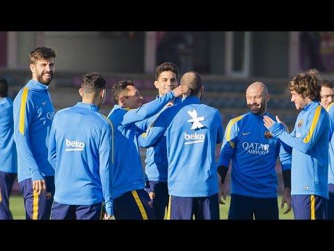 Video: Barcelona players play a prank on Aleix Vidal
