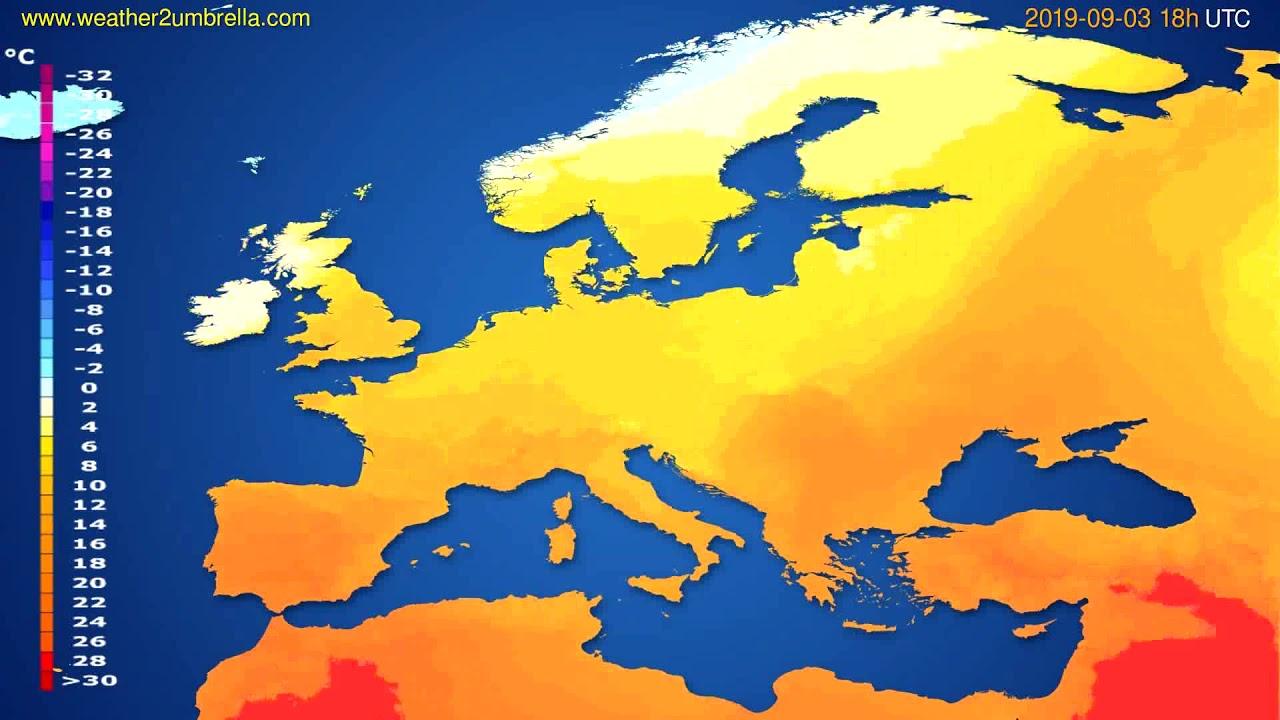 Temperature forecast Europe // modelrun: 00h UTC 2019-09-01