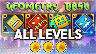 ALL LEVELS | Geometry Dash 2.11 + Meltdown + World + SubZero (All Coins) | GuitarHeroStyles