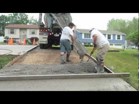 Concrete - How to Pour a Concrete Driveway by Sciulli Concrete. Procedure is very similar for concrete patios, sidewalks, stairs, steps or pool deck. This demonstration...