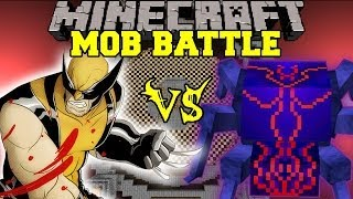 WOLVERINE VS KNIGHT BUG - Minecraft Mod Battle - Mob Battles - Superheroes and Anti Plant Virus Mods