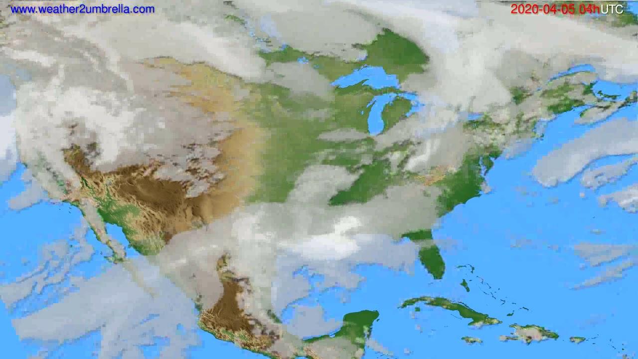 Cloud forecast USA & Canada // modelrun: 12h UTC 2020-04-04