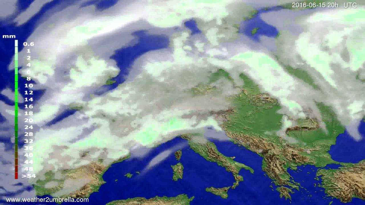 Precipitation forecast Europe 2016-06-13