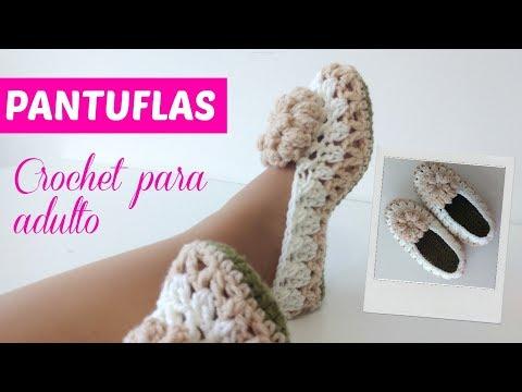 Cómo tejer pantuflas a crochet tamaño adulto