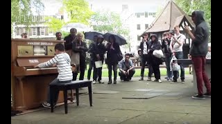 Video 11 year old George plays Moonlight Sonata (3rd mov) on a Street Piano in the rain. MP3, 3GP, MP4, WEBM, AVI, FLV Juni 2019