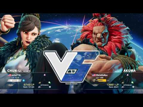 SFV- mrh6718_ (Chun-Li) Vs ChrisHuNyc (Akuma) Battle Lounge Matches