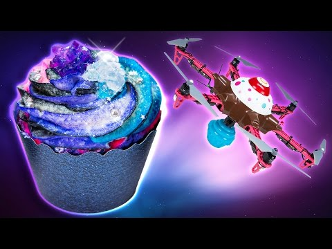 How to Make Galaxy Cupcakes and CUPCAKE DRONE Delivery!