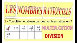 Maths 3ème - Les nombres rationnels Multiplication et Division Exercice 7