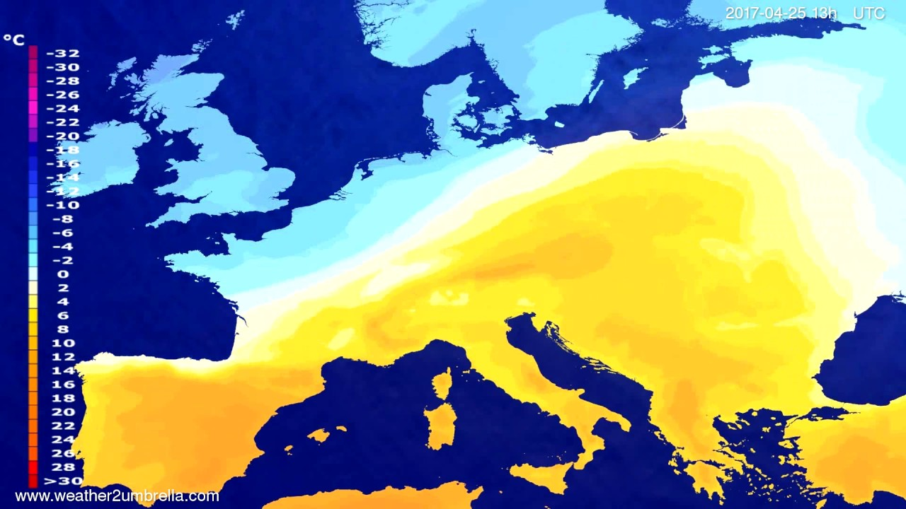 Temperature forecast Europe 2017-04-22