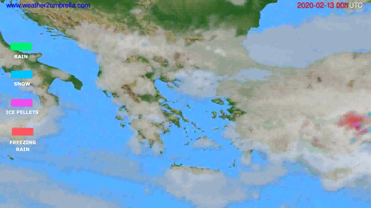 Precipitation forecast Greece // modelrun: 00h UTC 2020-02-12