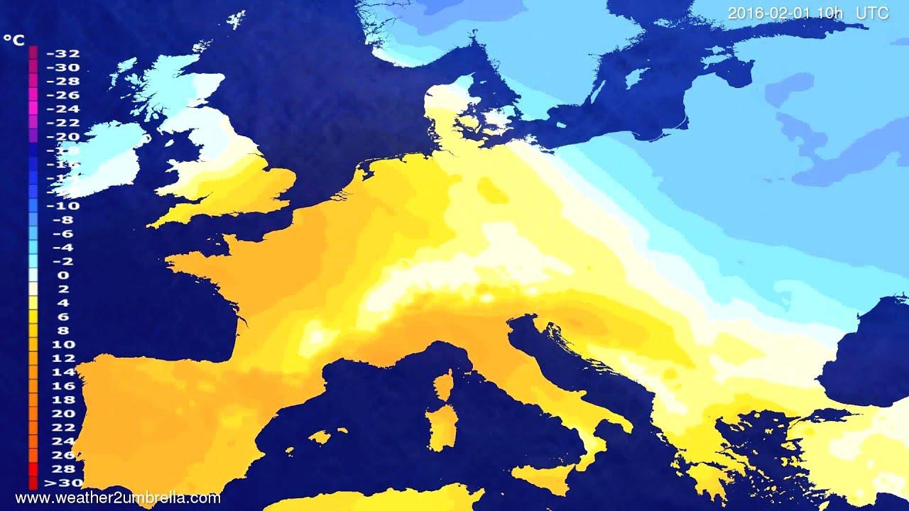 Temperature forecast Europe 2016-01-30
