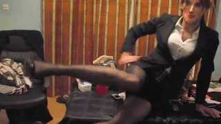 Crossdressing Wearing A Sexy Business Suit&seamed Nylon Stockings Part 2