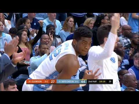 UNC Men's Basketball: Cameron Johnson Drains 6 Triples vs. Clemson (видео)