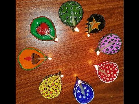Lamp or Diyas using clay and decorating them