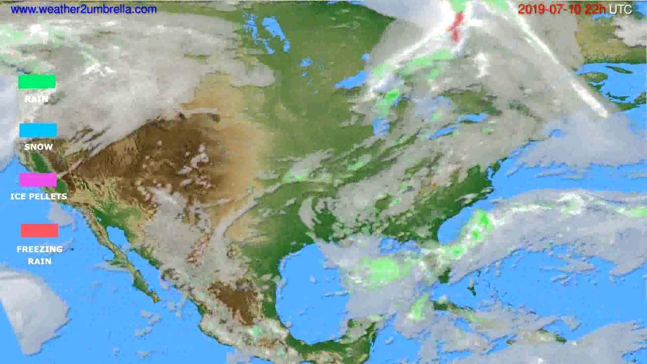 Precipitation forecast USA & Canada // modelrun: 00h UTC 2019-07-08