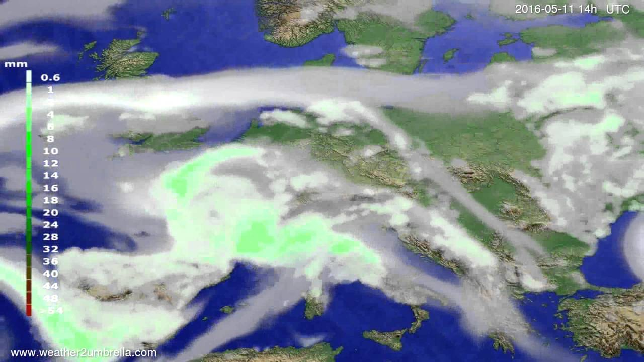 Precipitation forecast Europe 2016-05-07