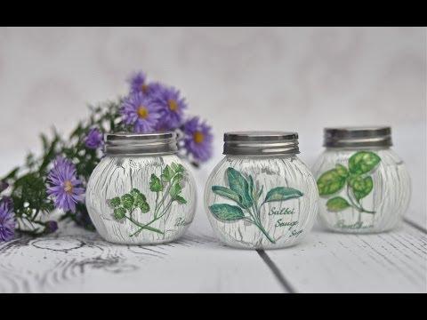 decoupage - come decorare dei vasetti per le spezie