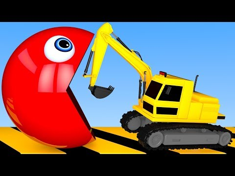 Learn Colors with PACMAN and Excavator Water Pipe Street Vehicle for Kid Children