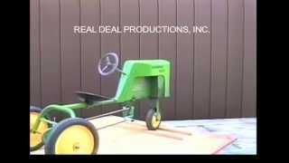 """Information on the Farmer Boy Pedal Tractor.  From our video on pedal tractors. It includes a visual descriptive study of each pedal tractor. Check out our facebook page """"Pedal Tractors"""" or our website www.arealdealproductions.com. We carry  a full line of pedal parts and pedal tractors."""