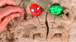SUPERHERO BABIES MAKE SAND FIGURES • Superhero Babies Play Doh Cartoons For Kids