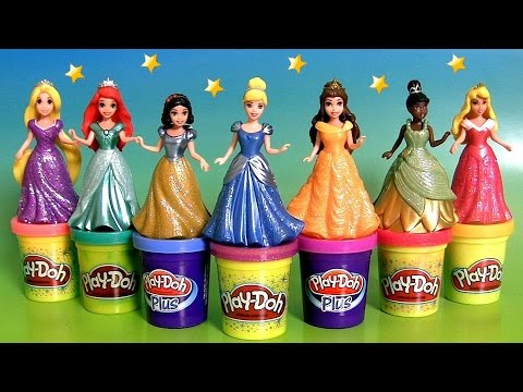 Design a Dress for 7 Disney Princess MagiClip Toys using Play-Doh Sparkle