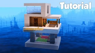 Minecraft: How to Build a Small Modern House on Water Tutorial (Easy)