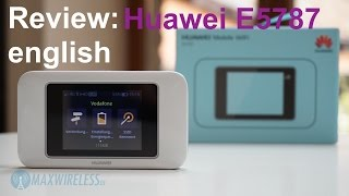 Review of the Huawei E5787 LTE Touchscreen Hotspot. The device supports LTE Cat6 (up to 300 mbps DL, up to 50 mbps UL) and has an exchangeable 3,000 mAh battery. The Huawei E5787 router costs about 200 Euros in Germany and is available in black and white.