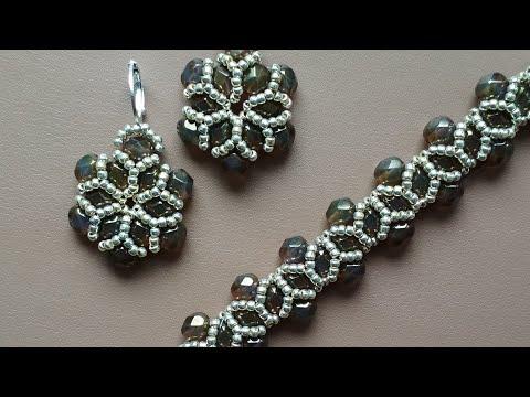 Beaded jewelry: bracelet, earrings. Украшения из бисера и бусин. МК