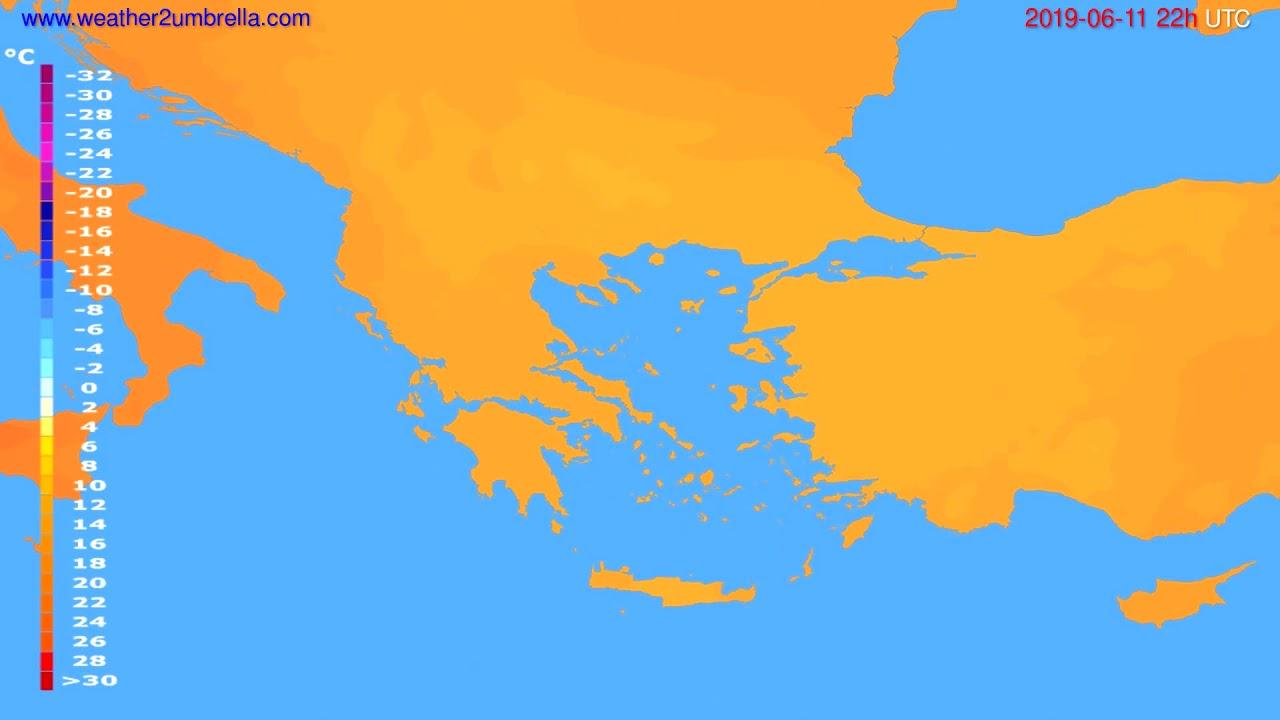 Temperature forecast Greece // modelrun: 12h UTC 2019-06-09