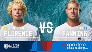 John John Florence takes on Mick Fanning in Heat 2 of the Quarterfinals at the 2017 Rip Curl Pro Bells Beach in Australia.