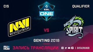 Natus Vincere vs Spirit, ESL One Genting CIS Qualifier, game 1 [Adekvat, LighTofHeaveN]