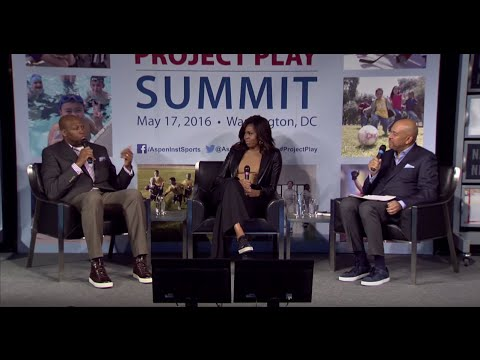 First Lady Michelle Obama, Craig Robinson, and Michael Wilbon at 2016 Project Play Summit
