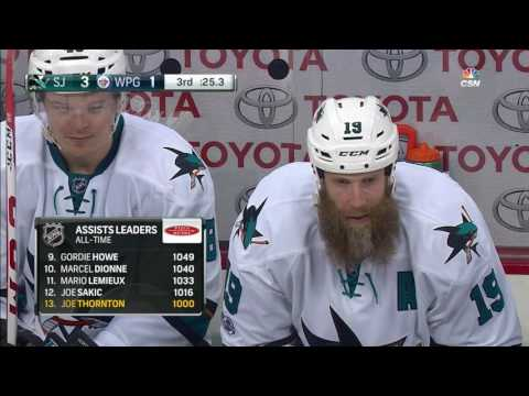 Video: Thornton collects his 1000th assist on Pavelski's goal