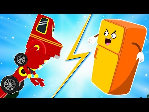 Red Super Car Ricky - Superhero vs Haunted Fridge - Cars Cartoon Videos for Kids