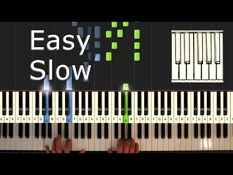 Pirates Of The Caribbean - He's a Pirate SLOW - Piano Tutorial Easy - How to Play (synthesia) (видео)
