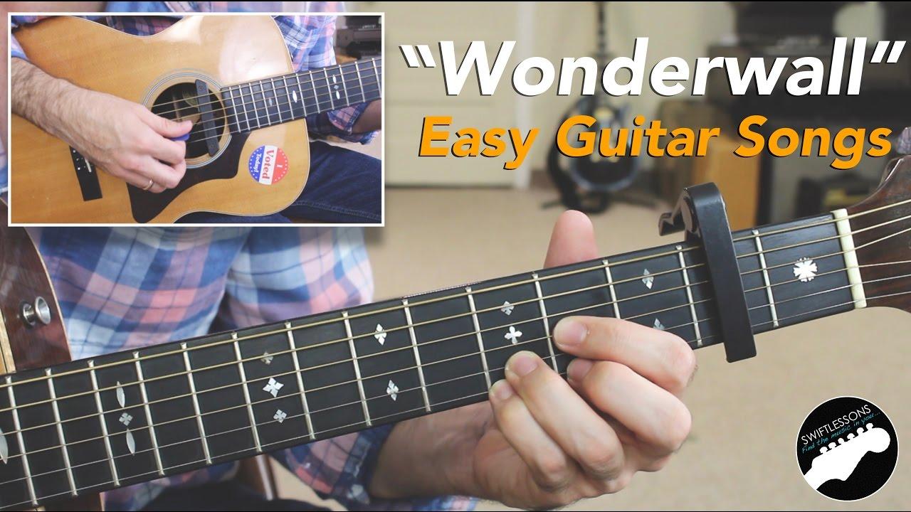 """Easy Guitar Songs   """"Wonderwall"""" By Oasis   Beginner Friendly Lesson"""