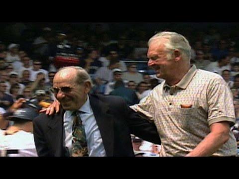 don larsen - 7/18/99: Don Larsen throws out the ceremonial first pitch to Yogi Berra on