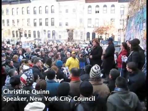 Christine Quinn speaks at Bushwick Vigil