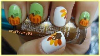 Turkey&Pumpkins Nail Art Tutorial (short&long Nails)