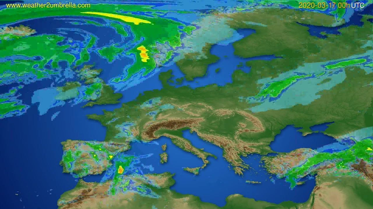 Radar forecast Europe // modelrun: 12h UTC 2020-03-16