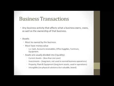 Accounting and Bookkeeping Tutorial Chapter 1 Accounting Equation