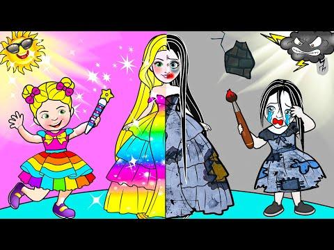 Paper Dolls Dress Up - Angels Rapunzel Daughter Painting Mother Dress - Barbie Story & Crafts