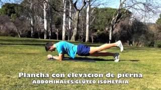 Plancha sobre codos con elevación alternativa de piernas