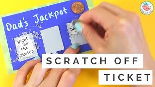 """This tutorial will show you how to make scratch off cards! This these DIY scratch off cards make a great last minute Father's Day gift card and Father's craft for kids. It can be customized for other holidays as well. It can be made into a birthday card for friends, girlfriends, boyfriends, family, etc. The DIY scratch off tickets have hidden messages underneath a layer of silver. Scratch off the silver with a coin to reveal the """"jackpot!"""" ------ABOUT: Hello my crafty friends! I'm Jenny, from NYC, and I LOVE to craft. I've created hundreds of paper craft and origami tutorials, do-it-yourself (DIY) crafting tutorials, and general craft tutorials, so be sure to subscribe and check back frequently. :-)INSTAGRAM: https://Instagram.com/OrigamiTree/FACEBOOK: https://www.Facebook.com/OrigamiTreeSNAPCHAT: https://www.snapchat.com/add/OrigamiTreeTWITTER: https://Twitter.com/OrigamiTreePINTEREST: http://www.Pinterest.com/OrigamiTreeWEBSITE: http://www.OrigamiTree.comShare your crafts in the Fan Gallery (bit.ly/OTFanGallery), or on social media with #OrigamiTree. You may also visit OrigamiTree.com, for free craft tutorials, demos, printable origami paper, and more!MUSIC: Wallpaper  """"Wallpaper"""" Kevin MacLeod (incompetech.com) Licensed under Creative Commons- By Attribution 3.0 License http-//creativecommons.org/licenses/by/3.0/.mp3Business Inquiries: JennyOrigamiTree@gmail.com"""