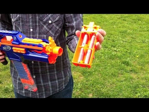 Strike - This is a range test for the Nerf N-Strike Elite RapidStrike CS-18 with increased voltage. The voltage comes varying amounts of Trustfire 14500 batteries. As...