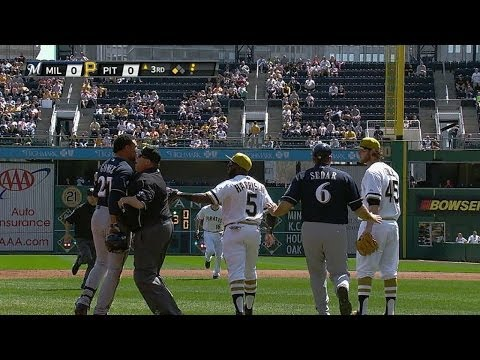 Video: MIL@PIT: Benches clear after Gomez triples in the 3rd