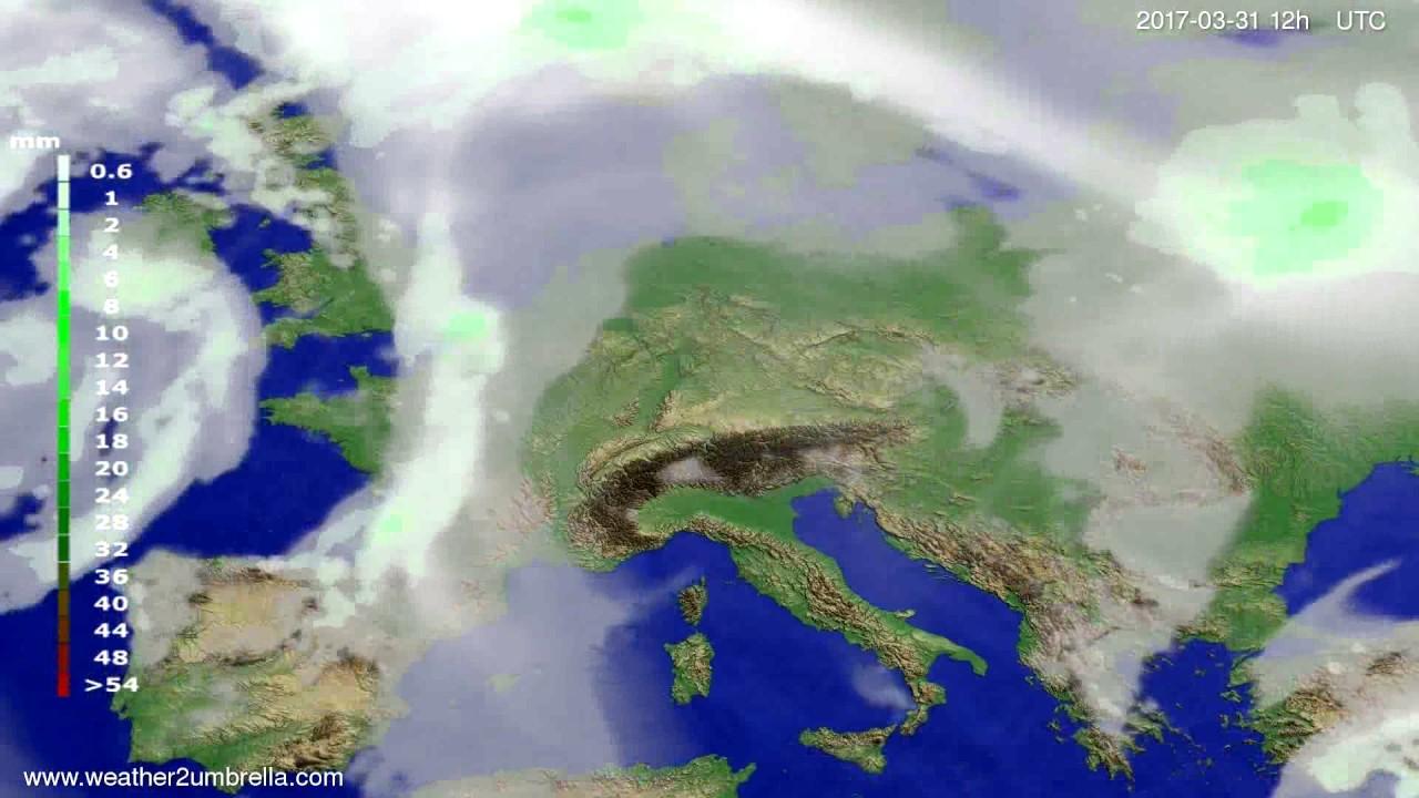 Precipitation forecast Europe 2017-03-27